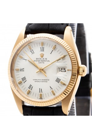 ROLEX OYSTER PERPETUAL DATE 34MM 18K YELLOW GOLD WHITE DIAL REF: 1503