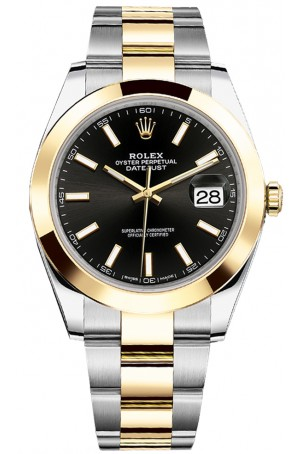 ROLEX DATEJUST 41MM TWO-TONE GOLD&STEEL BLACK DIAL REF: 126303