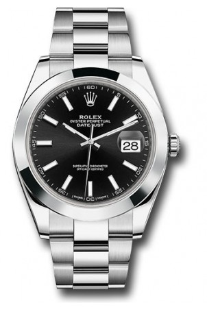 ROLEX DATEJUST 41MM STAINLESS STEEL BLACK DIAL REF: 126300
