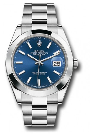 ROLEX DATEJUST 41MM STAINLESS STEEL BLUE DIAL REF: 126300