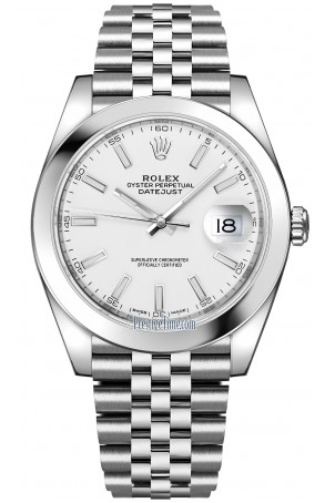 ROLEX DATEJUST 41MM STAINLESS STEEL JUBILEE WHITE INDEX DIAL REF: 126300