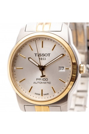TISSOT PR 100 AUTOMATIC TWO-TONE WATCH 38MM SILVER DIAL REF: T049407