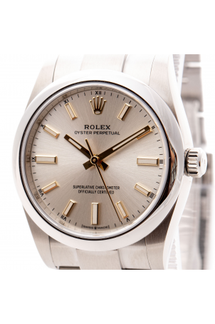 ROLEX OYSTER PERPETUAL SILVER DIAL NEW 2021 FULL SET 34MM REF: 124200