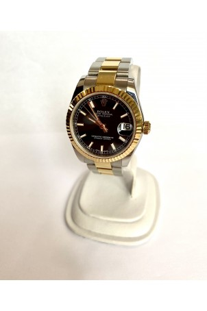 ROLEX DATEJUST LADY 31MM OYSTER GOLD&STEEL BLACK DIAL REF: 178273