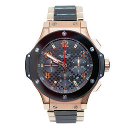 HUBLOT BIG BANG IN ROSE GOLD WITH BLACK CERAMIC BEZEL