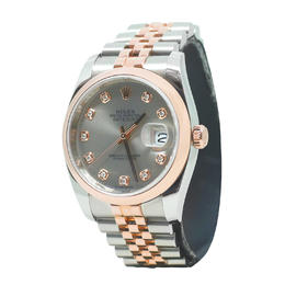 ROLEX DATEJUST DIAMONDS DIAL ROSE GOLD AND STEEL AUTOMATIC OYSTER PERPETUAL