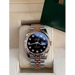 ROLEX DATEJUST STEEL &18K ROSE GOLD DIAL BLACK WITH DIAMOND