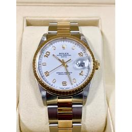 ROLEX DATE 2-TONE STAINLESS STEEL & 18KA GOLD WHITE DIAL