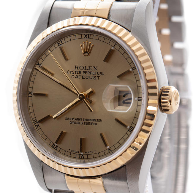 ROLEX DATEJUST OYSTER PERPETUAL GOLD & STEEL AUTOMATIC CHAMPAGNE DIAL