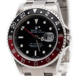 ROLEX GMT MASTER II BLACK RED COKE BEZEL STEEL