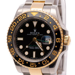 ROLEX GMT MASTER II STEEL & GOLD BLACK CERAMIC 40MM