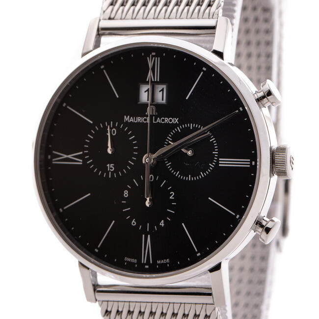 MAURICE LACROIX ELIROS 40mm BLACK & STAINLESS STEEL QUARTZ MENS WATCH
