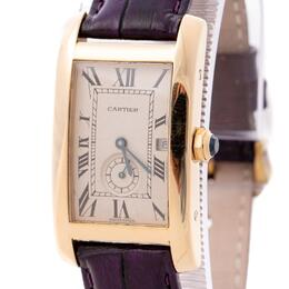 CARTIER  TANK AMERICANE QUARTZ WATCH 18k YELLOW GOLD