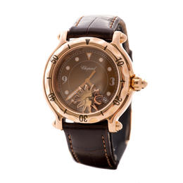 CHOPARD HAPPY SPORT SUN 18 KA ROSE GOLD BROWN DIAL LADY