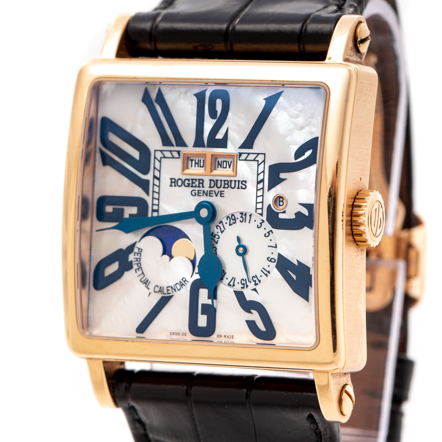ROGER DUBUIS GOLDEN SQUARE PERPETUAL CALENDAR 28 PIECES WORLDWIDE ROSE GOLD G40