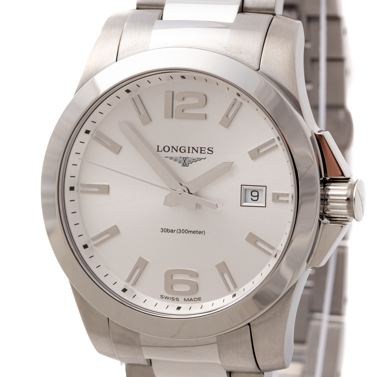 LONGINES CONQUEST STEEL SILVER DIAL REF: L3.759.4