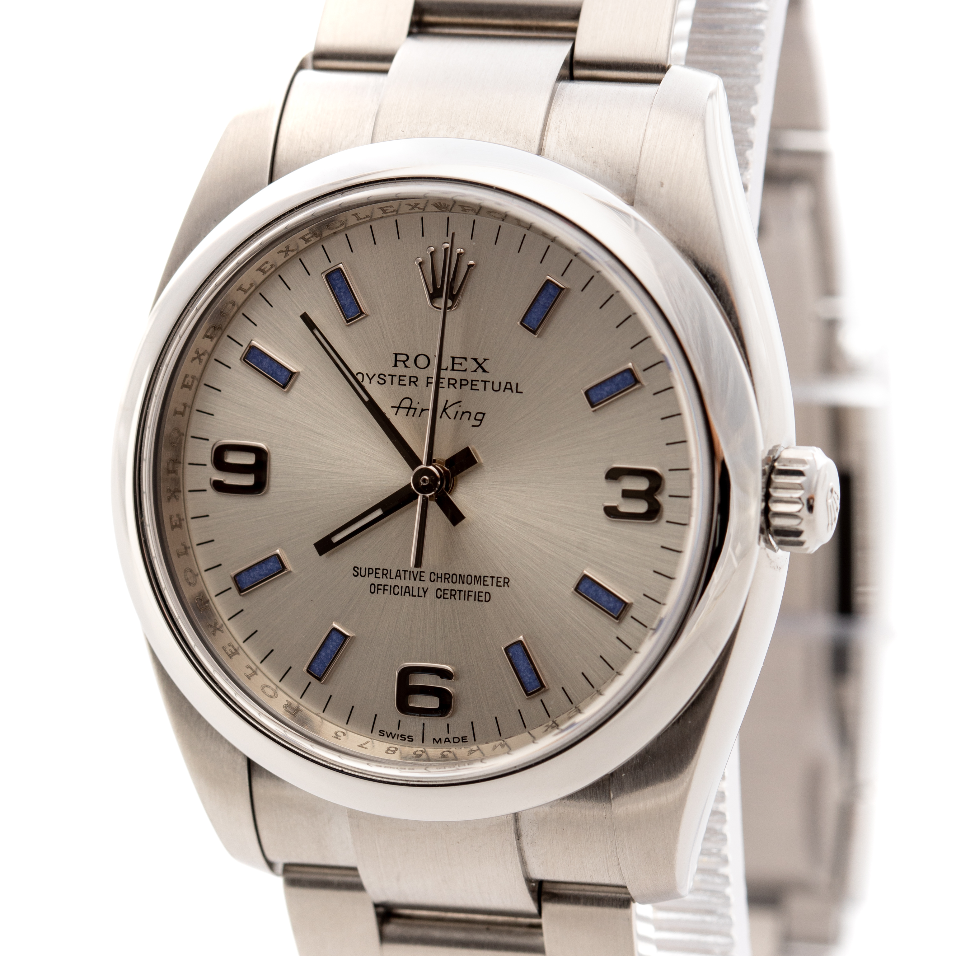 ROLEX OYSTER PERPETUAL AIR KING SILVER DIAL REF: 114200