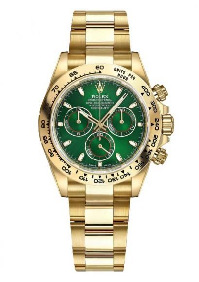 ROLEX DAYTONA 18K YELLOW GOLD GREEN DIAL 40MM REF: 116508