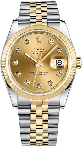 ROLEX DATEJUST GOLD&STEEL 36MM DIAMONDS REF: 116233