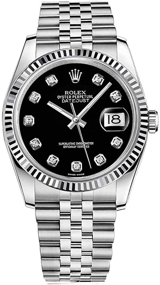 ROLEX DATEJUST 36MM STEEL DIAMONDS BLACK DIAL REF: 116234