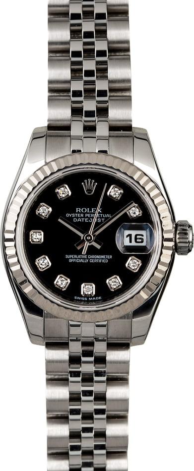 ROLEX LADY DATEJUST 26MM STEEL JUBILEE BLACK DIAMONDS REF: 179174