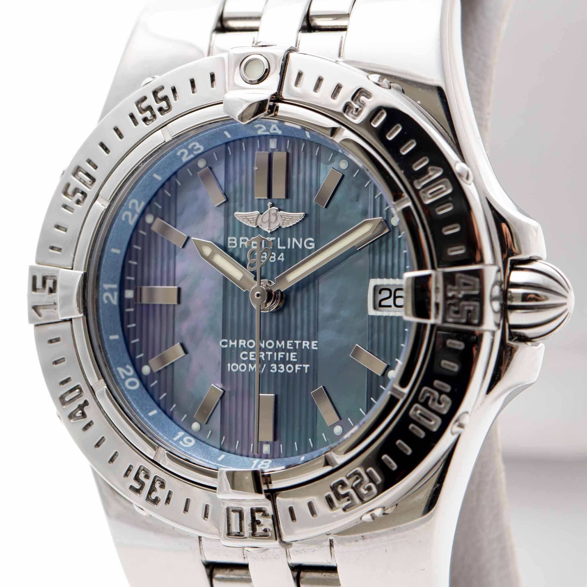 BREITLING STARLINER LADY BLUE MOP DIAL 30MM REF:A71340