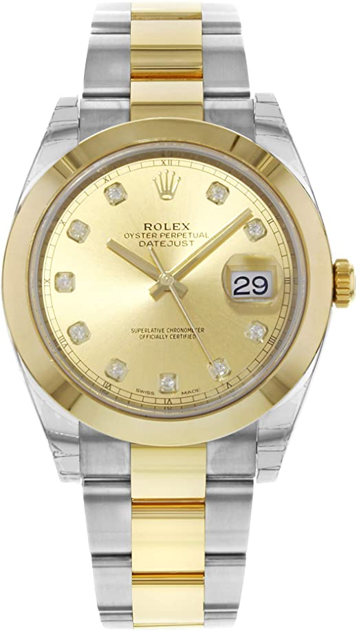 ROLEX DATEJUST 41MM TWO-TONE GOLD&STEEL CHAMPAGNE DIAMOND DIAL REF: 126303