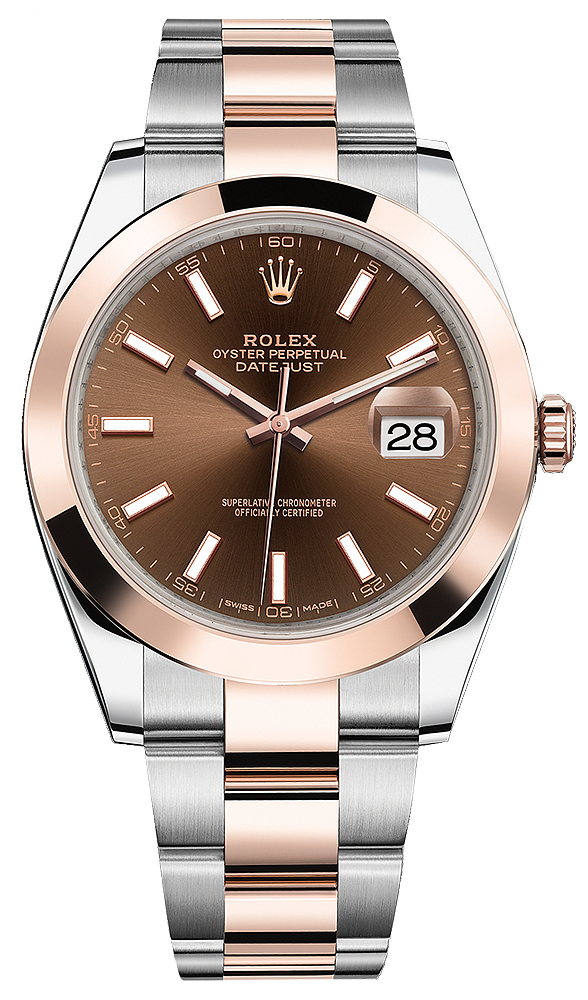 ROLEX DATEJUST 41MM TWO-TONE ROSE GOLD&STEEL CHOCHOLATE DIAL REF: 126301