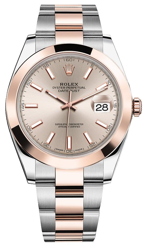 ROLEX DATEJUST 41 MM ROSE GOLD&STEEL PINK DIAL REF: 126301
