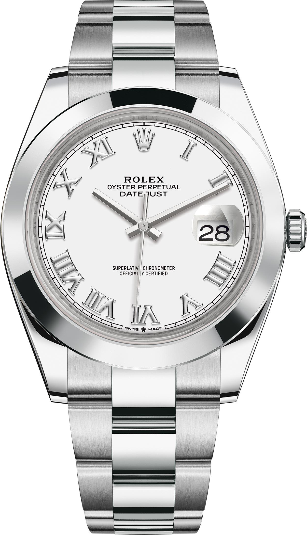 ROLEX DATEJUST 41MM STAINLESS STEEL WHITE DIAL ROMAN NUMERALS REF: 126300