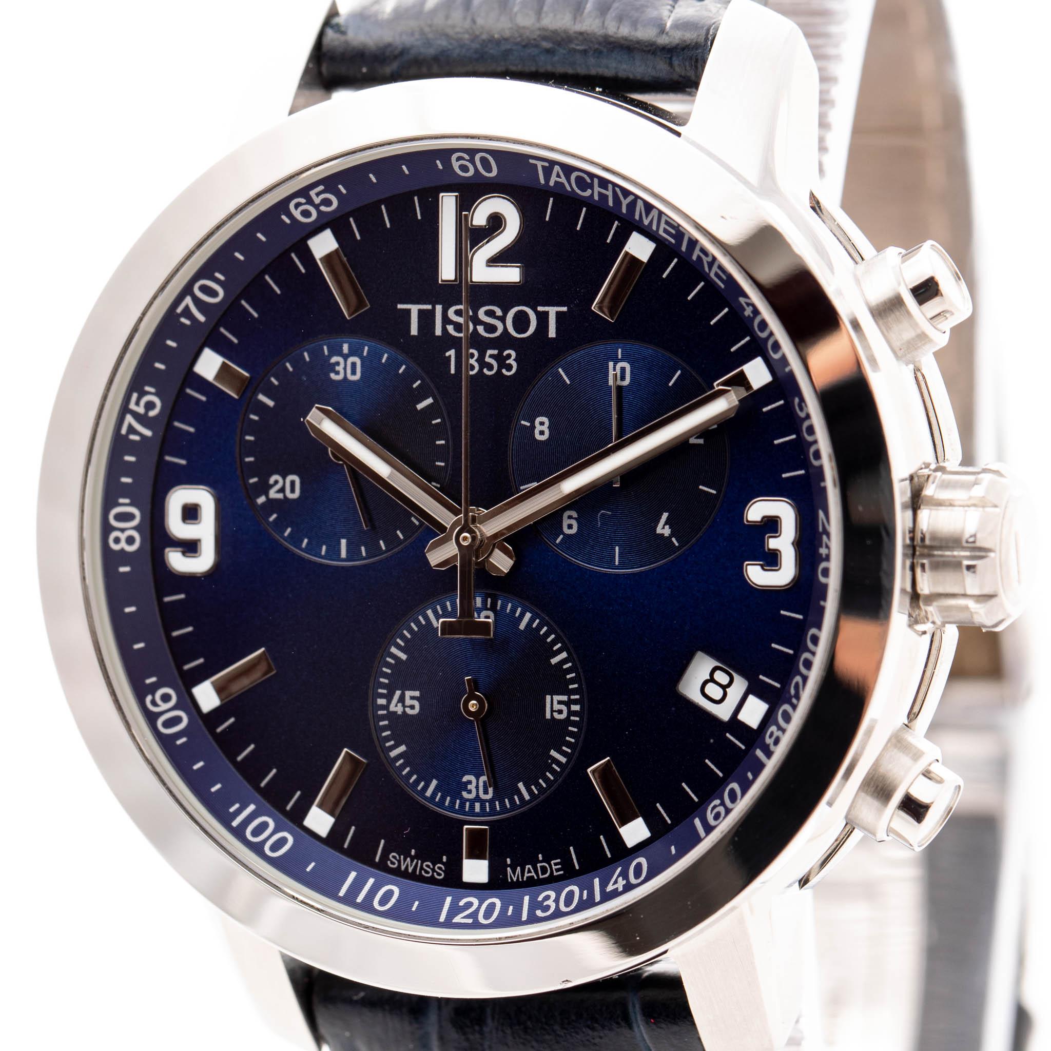 TISSOT PRC 200 42MM CHRONOGRAPH STEEL BLUE DIAL REF: T055417
