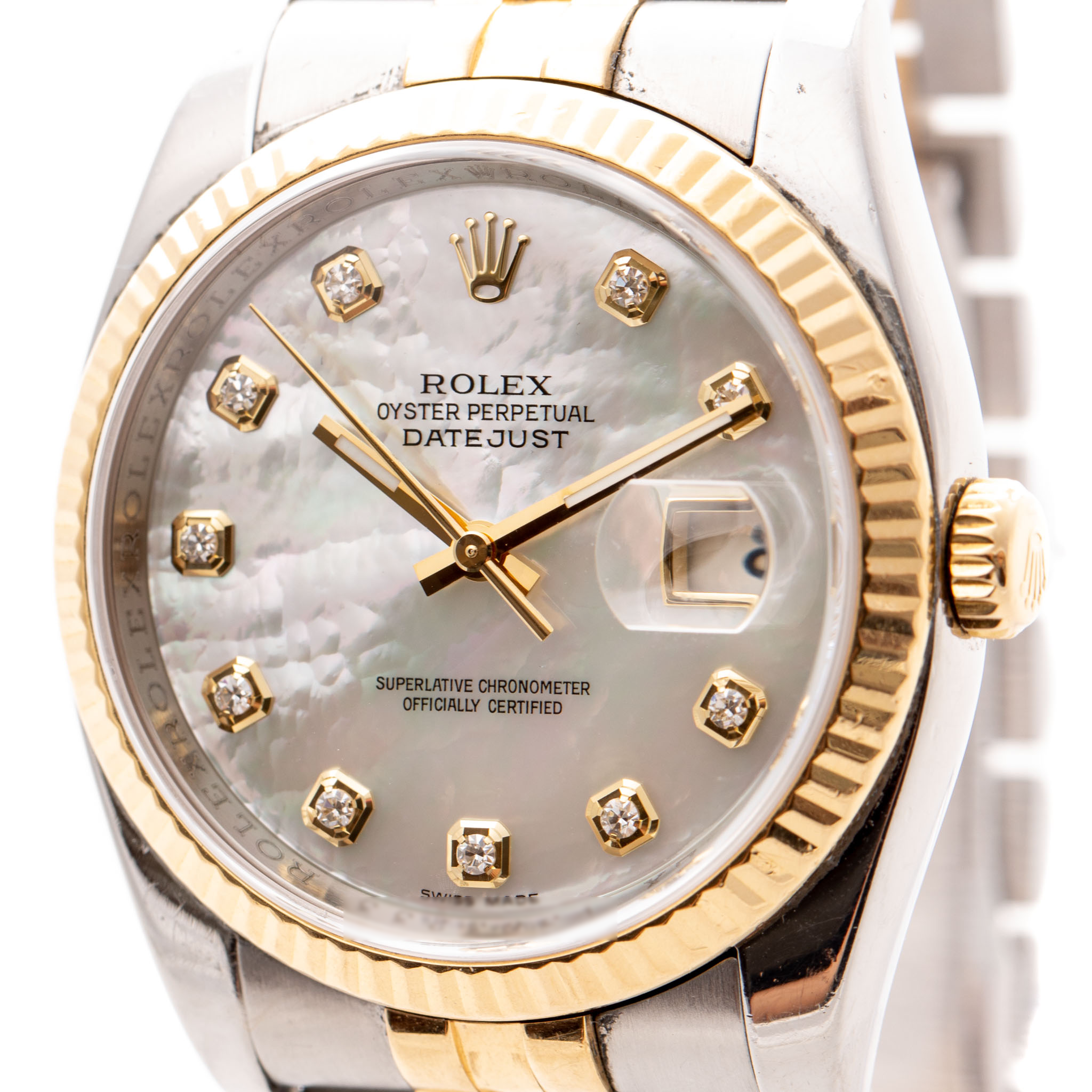 ROLEX DATEJUST DIAMOND MOTHER OF PEARL GOLD&STEEL 36MM REF: 116233