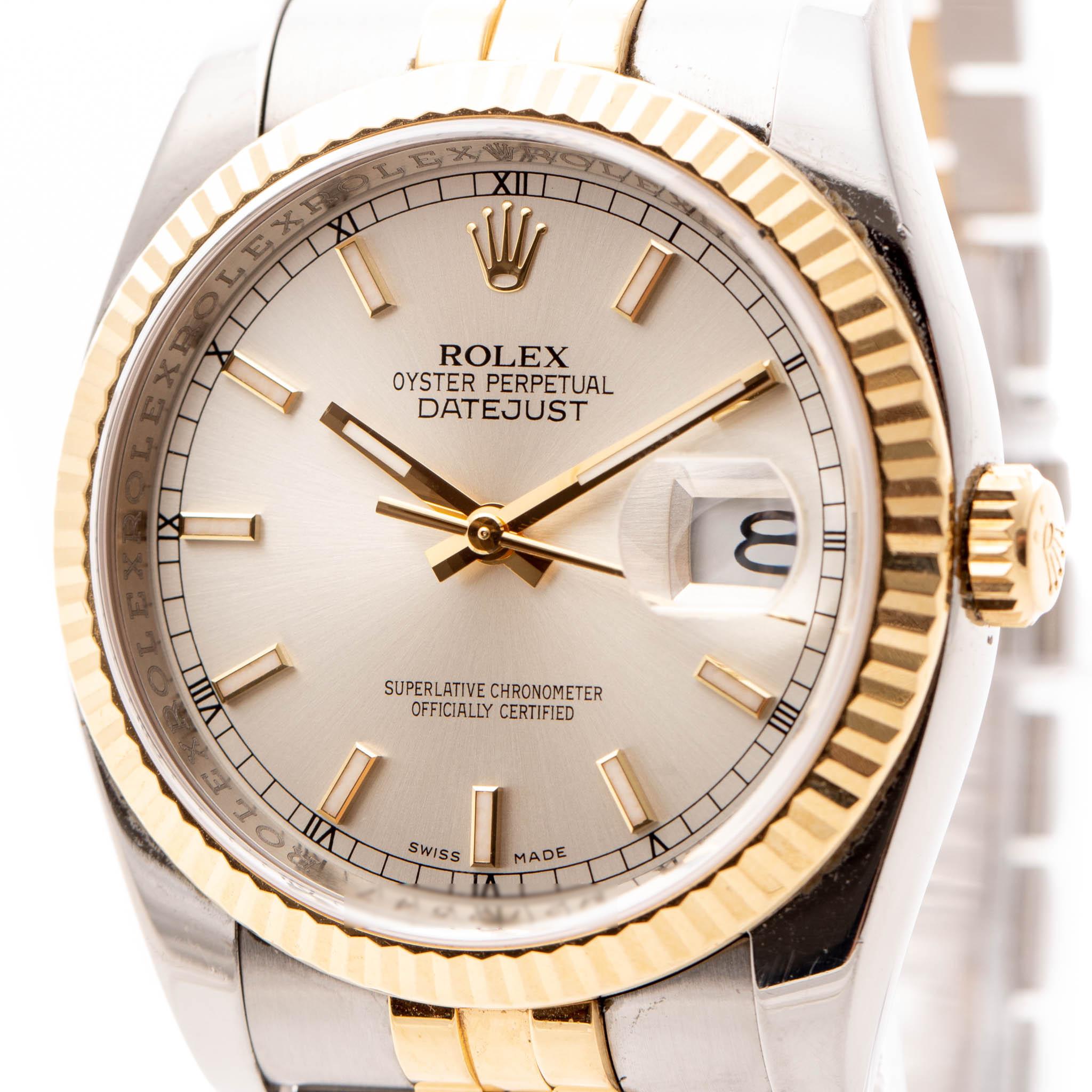 ROLEX DATEJUST DATE SILVER DIAL GOLD&STEEL JUBILEE 36MM REF: 116233