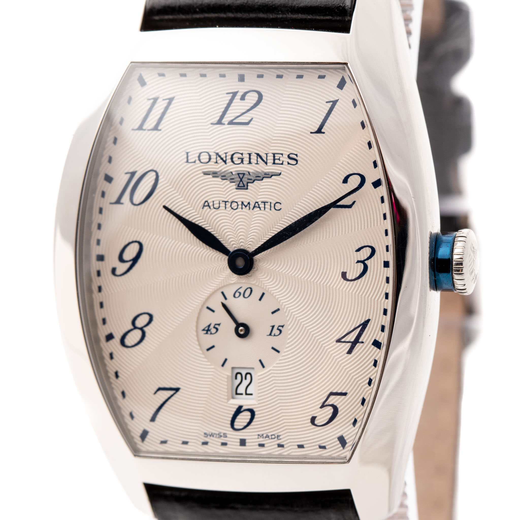 LONGINES EVIDENZA 33MM STEEL SILVER DIAL BLACK LEATHER STRAP REF: L2.642.4.73.4