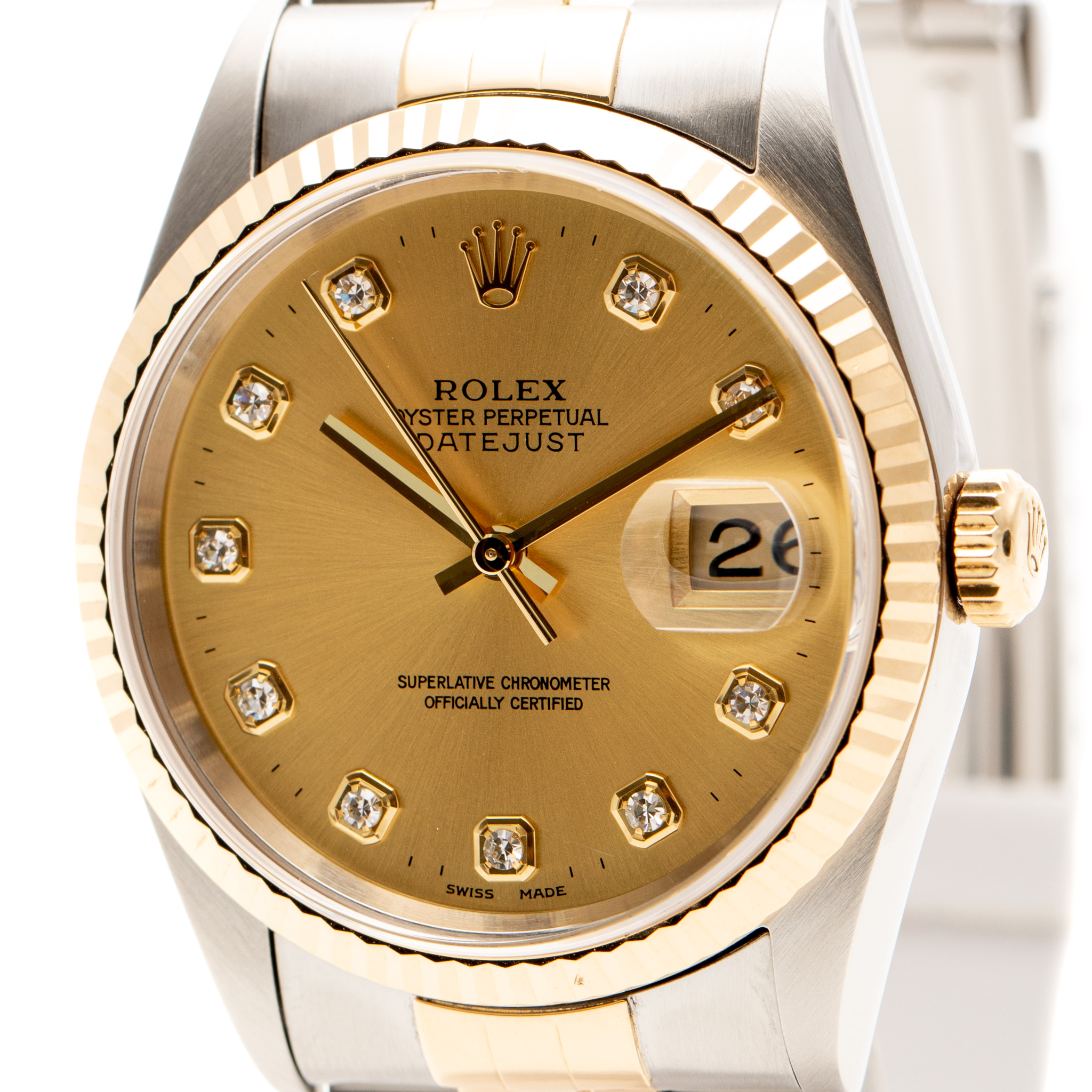 ROLEX DATEJUST 36MM GOLD&STEEL CHAMPAGNE DIAMOND DIAL REF: 16233